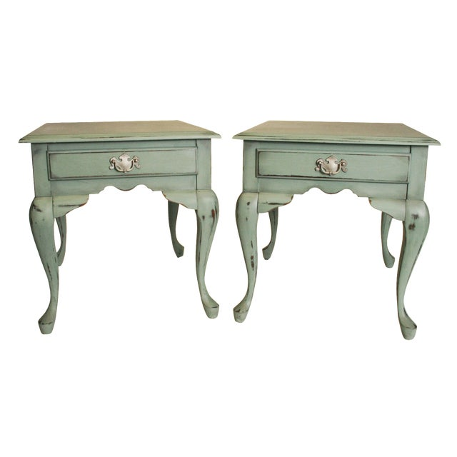 Vintage French Distressed Wood Side Tables - Pair - Image 1 of 11