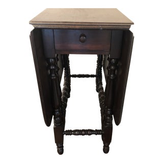 Antique Rustic Gateleg Table With Drawer For Sale