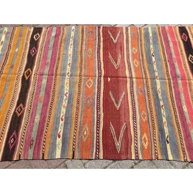 Boho Chic Striped Soft Colored Turkish Kilim Rug For Sale - Image 3 of 9