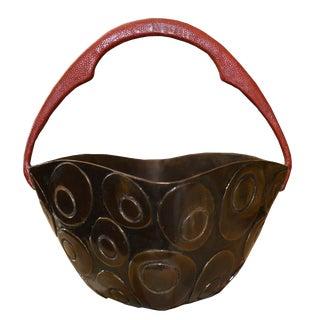 Bronze Basket With Shagreen Handle, Paris. Signed For Sale