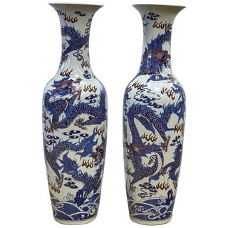 Pair of Chinese Red, Blue and White Porcelain Palace Vases For Sale