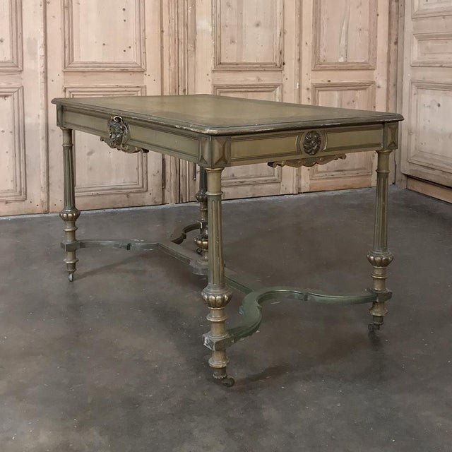19th Century French Louis XVI Painted End ~ Library Table is an amazing original example of both the woodworker's art as...