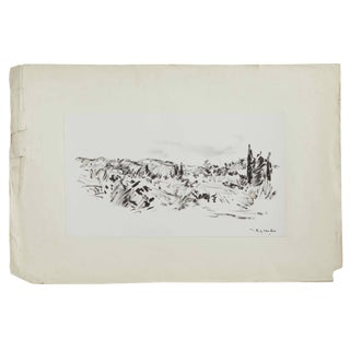 Early 20th Century Unframed Black Ink Painting From France For Sale