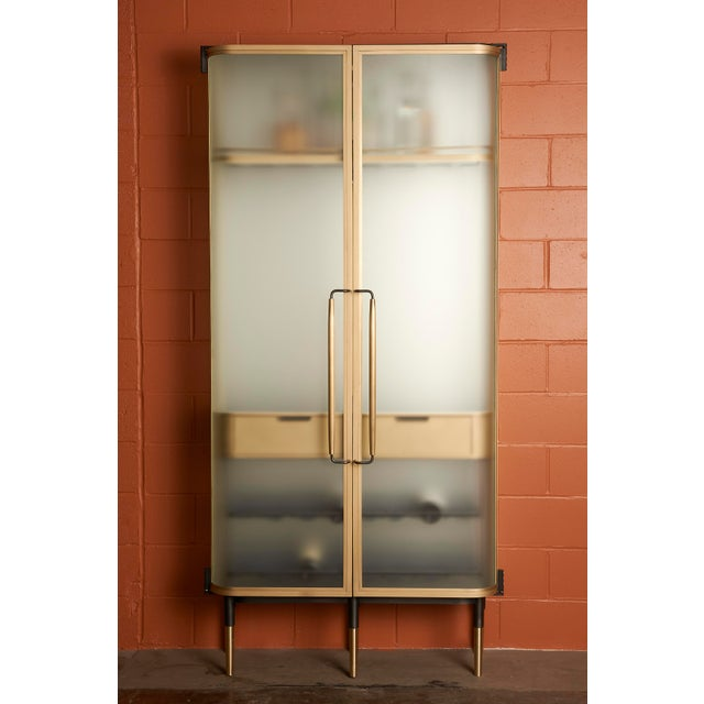 Plano Bar Cabinet in Bronze, Curved Glass Doors, Waxed Leather Bottle Slings For Sale - Image 12 of 12