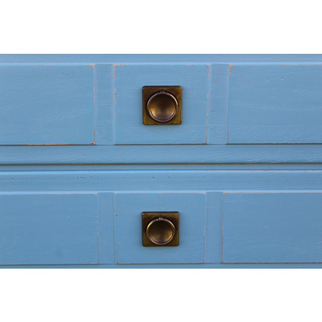 Blue Pair of Campaign Style Nightstands For Sale - Image 8 of 9