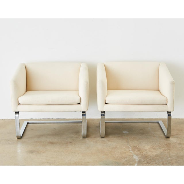 Mid-Century Modern Selig Mid-Century Modern Cantilever Lounge Chairs - a Pair For Sale - Image 3 of 13