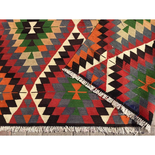 Diamond Vintage Turkish Kilim Rug For Sale - Image 9 of 10
