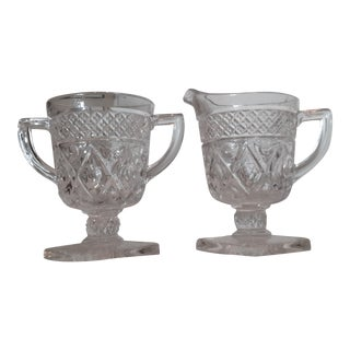Mid Century Cut Glass Sugar and Creamer Set - 2 Pieces For Sale