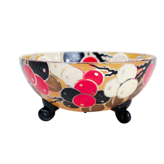 French Glass Bowl with Stylized Cherries - Image 1 of 3