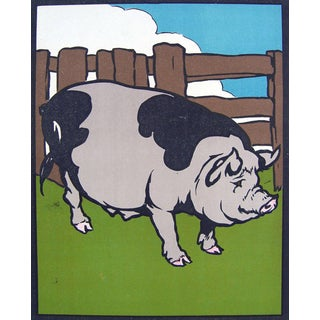 1930 Colorful Pig & Cow Print