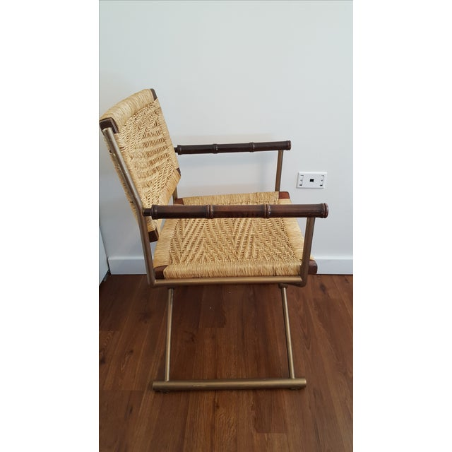 Hollywood Regency Brass Rattan X-Form Director's Chair - Image 3 of 5
