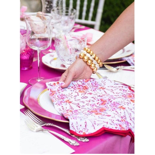 Traditional Pink Floral Scalloped Napkins - Set of 4 For Sale - Image 3 of 5