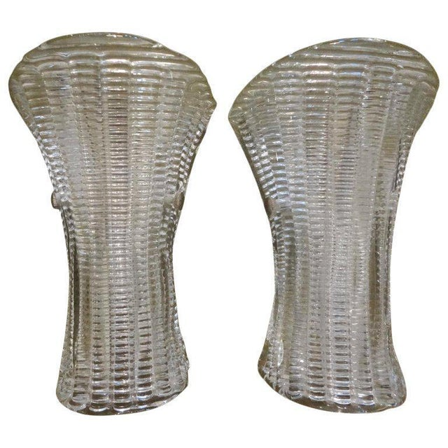 Transparent 1970's Barovier Style Murano Glass Sconces-A Pair For Sale - Image 8 of 9