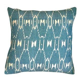Kim Salmela Teal Ikat Pillow For Sale