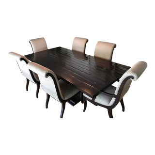 Dark Wood Tranisitional Dining Set For Sale