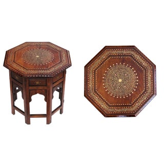 An Intricately Designed Anglo-Indian Brass and Copper Inlaid Octagonal Traveling Table