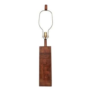 "1960s Jane & Gordon Martz ""Square"" Stacked Walnut Table Lamp For Sale"