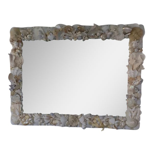 Large Horizontal Seashell & Coral Mirror For Sale