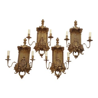 Italian Chinoiserie Gilt Wood Sconces, Set of 4 For Sale