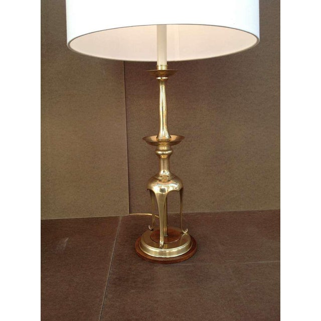 a3f651ab53e6f Gold Solid Brass With Oak Table Lamps by Chapman - a Pair For Sale - Image