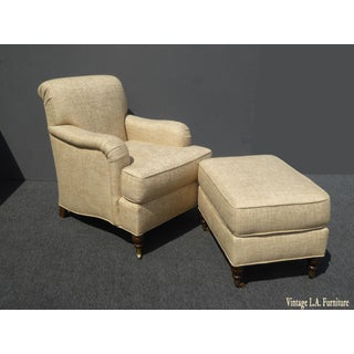 Restoration Hardware Style Beige Linen Blend Accent Chair & Ottoman Preview