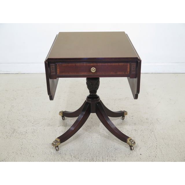 1990s Federal Drop Leaf Mahogany Duncan Phyfe Large 1 Drawer Occasional Table For Sale - Image 12 of 12