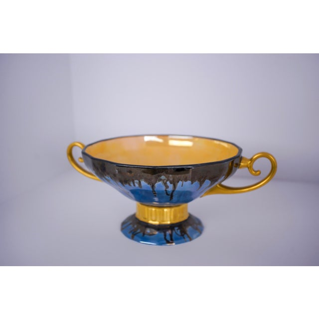 20th Century Contemporary Glazed Blue and Gold Ceramic Footed Bowl For Sale - Image 4 of 4