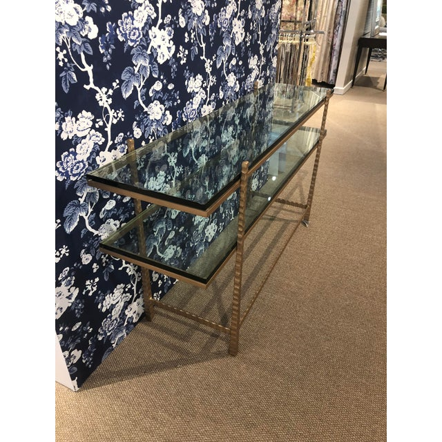 Mediterranean Tuscan Glass and Gold Console Table For Sale - Image 3 of 5