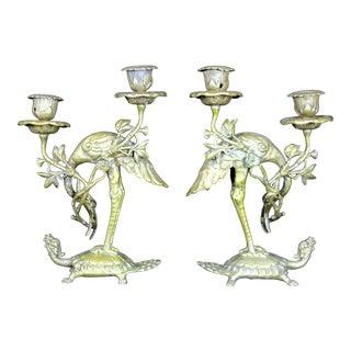 19th Century Japanese Gilt Bronze Crane on Dragon Turtle Candlesticks - a Pair For Sale