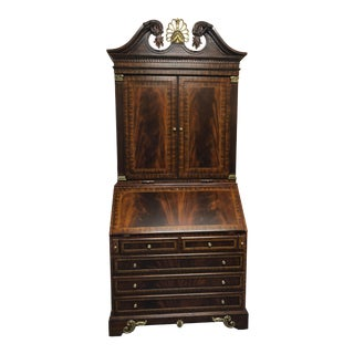 1990s Neoclassical Maitland Smith Flame Mahogany Secretary Desk For Sale