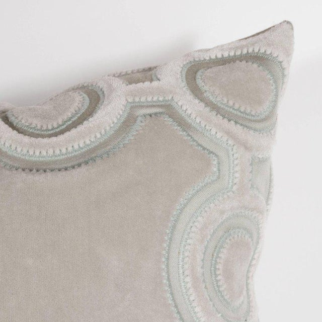 Custom Handmade Dove Gray Pillow with Embroidered Circular and Geometric Forms For Sale - Image 4 of 6