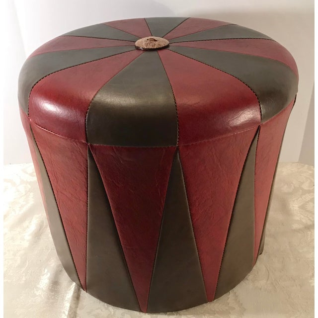 20th Century Boho Chic Brown Leatherette Pouf Footstool For Sale - Image 4 of 8