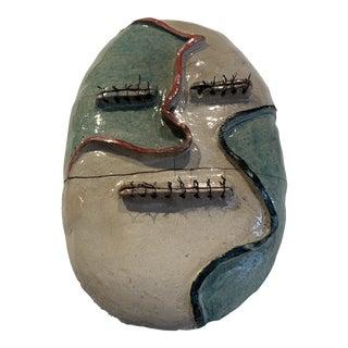 Nancy VanKanegan Raku Fired Stoneware and Wire Mask Wall Sculpture For Sale
