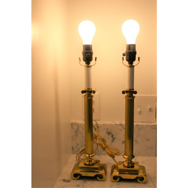 Neoclassical Brass Columnar Candlestick Table Lamps- A Pair - Image 3 of 11