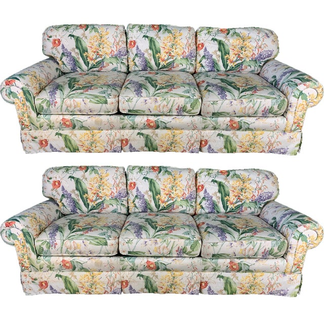 Floral Upholstered Sofas by Robb and Stucky - A Pair For Sale - Image 10 of 10
