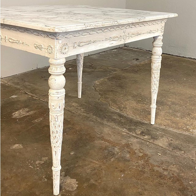 Late 18th Century Center/End Table, 18th Century Swedish Painted With Marble Top For Sale - Image 5 of 12