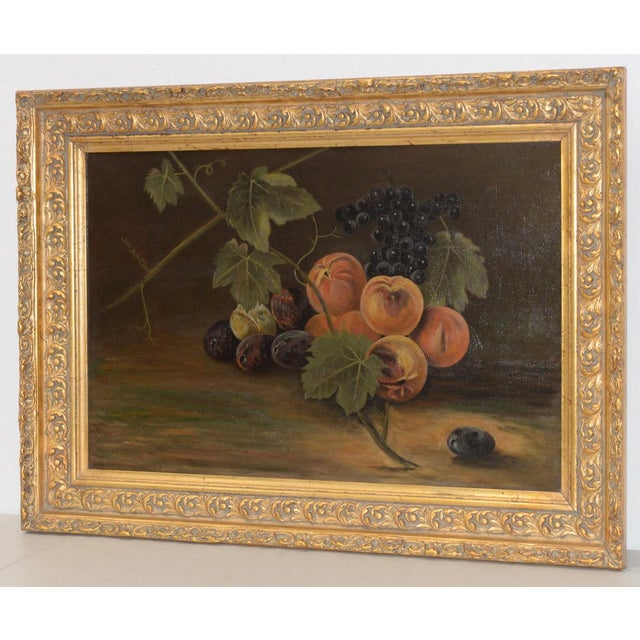 """19th Century """"Fruit Table"""" Still Life Oil Painting Fine antique still life painting with peaches, grapes and plums...."""