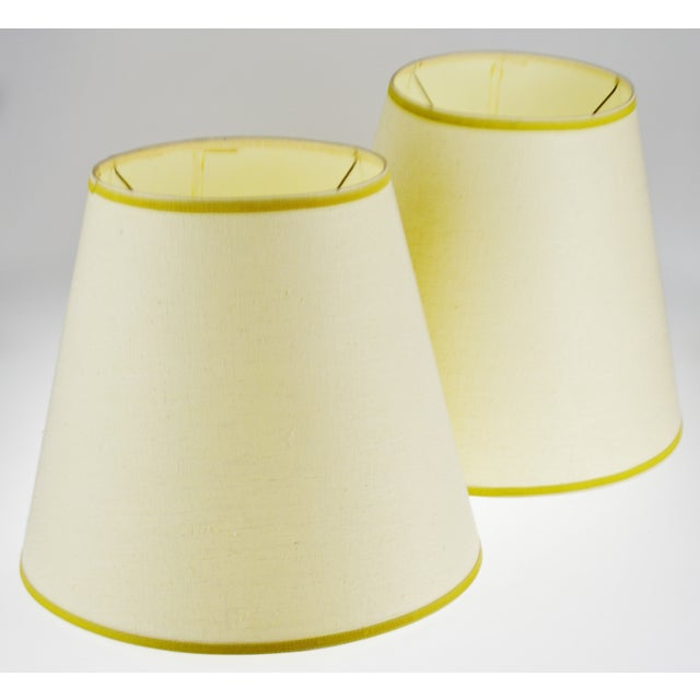 Vintage Bell Shape Linen Fabric Lamp Shades - a Pair For Sale - Image 11 of 12