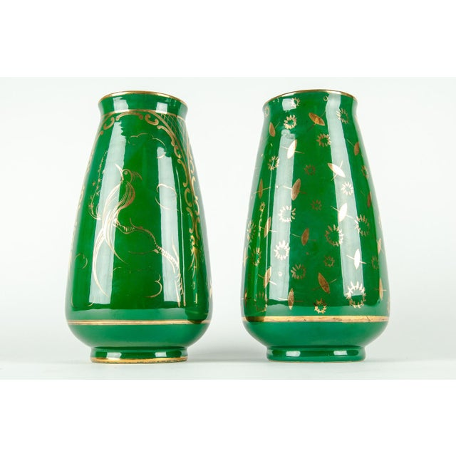 Vintage Italian Green Porcelain Decorative Vases - a Pair For Sale - Image 10 of 11
