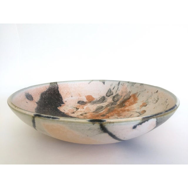 This vintage Mid Century Modern studio pottery Abstract Expressionist signed ceramic bowl is a very special and unique...
