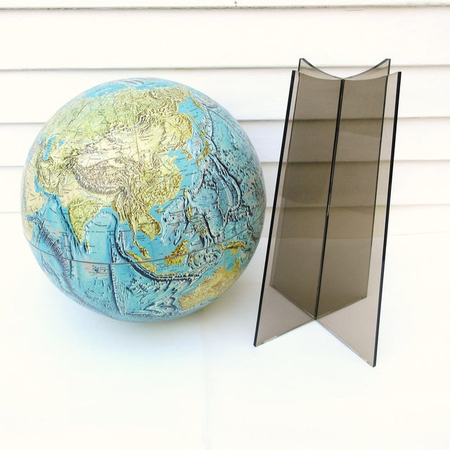Large Replogle World Globe and Lucite Stand For Sale - Image 4 of 9