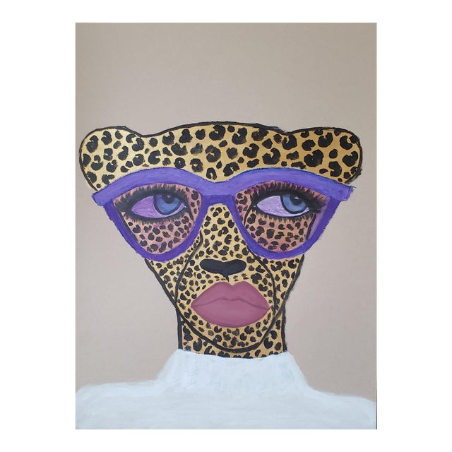 """""""Purple Shades Cheetah"""" Mixed Media Drawing *Price Is Firm* For Sale"""