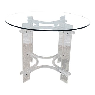 Vintage Round Lucite & Glass Dining Table