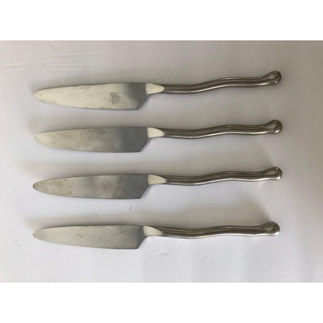"""Gourmet Settings Exotique Platinum Stainless Knives S-4, 9.5"""" dinner knives"""