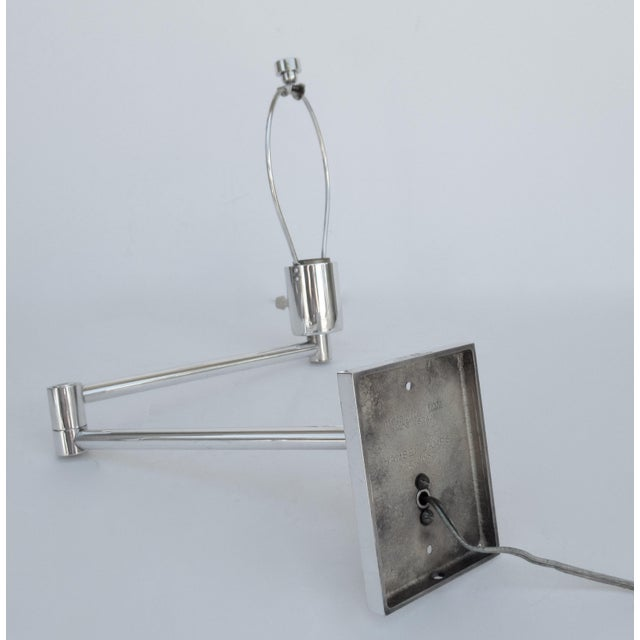 Metal Vintage C.1970's Georg Hanson for Hanson Lighting Co. Chrome-Plated Swing-Arm Wall Sconce- Single For Sale - Image 7 of 13