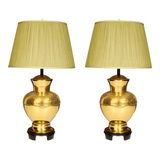 Vintage Mid-Century Brass Ginger Jar Lamps - a Pair For Sale