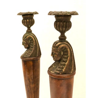 English Egyptian Revival Bronze & Wood Candleholder, A-Pair Preview