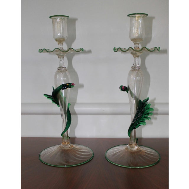 Unique Pair of Dragon Form Murano Candle Holders For Sale - Image 9 of 9