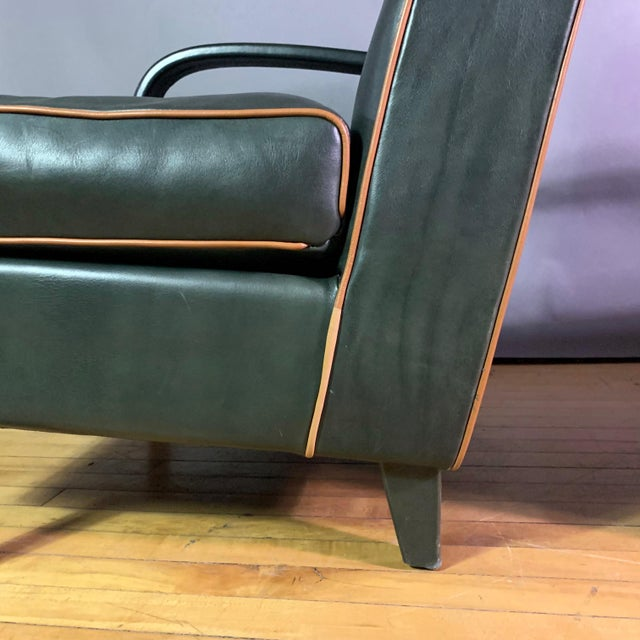 Pair Baxter Italia Green Leather Armchairs, 1990 For Sale In New York - Image 6 of 11