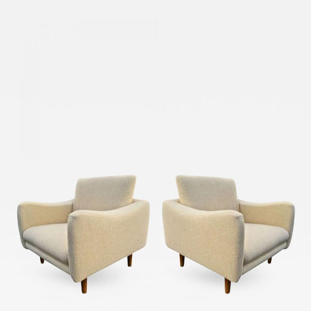 """Contemporary j.a Motte for Steiner Pair of Lounge Chair Model """"Teckel"""" Newly Reupholstered For Sale - Image 3 of 3"""